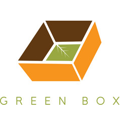Design template of the box with leaves vector