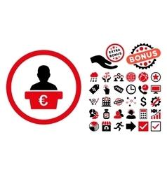 Euro Politician Flat Icon with Bonus vector image vector image