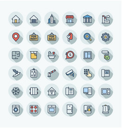 flat color thin line icons set with real vector image