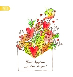 Greeting card with hearts bird and flowers vector image vector image