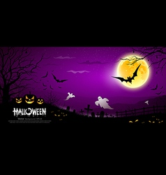Halloween ghost scary purple background vector image vector image