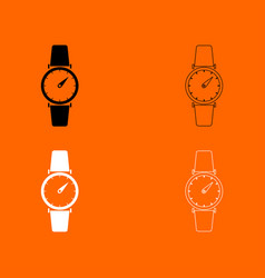 hand watch black and white set icon vector image vector image