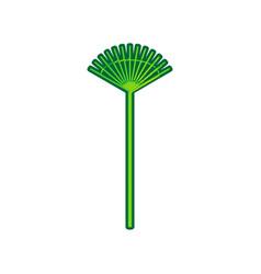 Lawn rake sign lemon scribble icon on vector