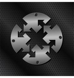 metal circle with arrows vector image