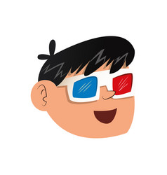 nice boy face using 3d glasses vector image