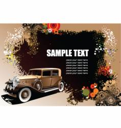 old car on grunge background vector image