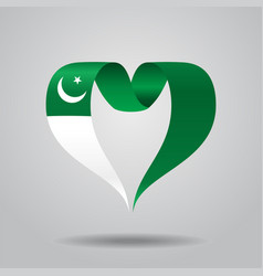 Pakistani flag heart-shaped ribbon vector