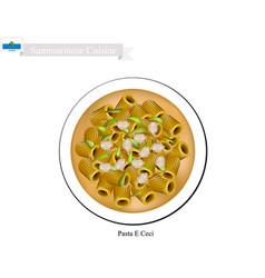 Pasta e ceci a famous dish in san marino vector