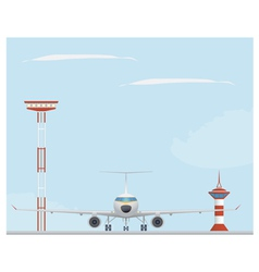 Plane light tower and control tower vector