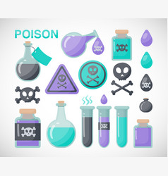poison flat icon set vector image