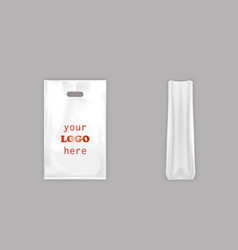 realistic white plastic bag with handle vector image vector image