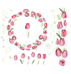 Round frame with pretty red tulips festive floral vector
