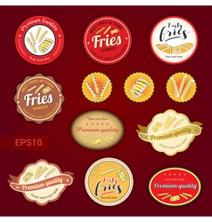Set of fries variety tag label emblem or sticker vector