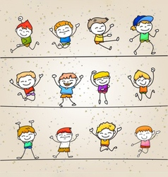 Set of hand drawing cartoons concept happy boys vector