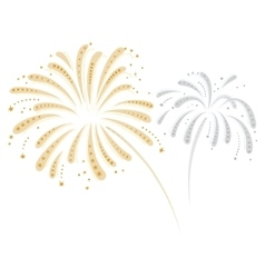 Silver and gold fireworks vector image vector image