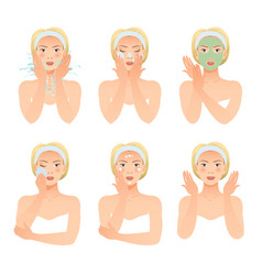 Skincare procedures collection vector