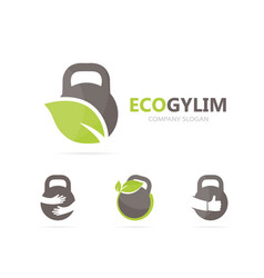 Sport and leaf logo combination gym and vector