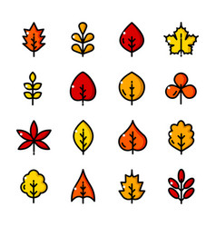 Thin line leaves icons set vector