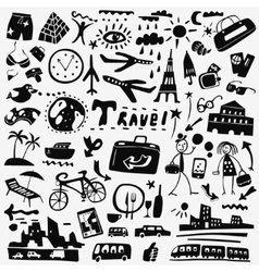 travel doodles set vector image