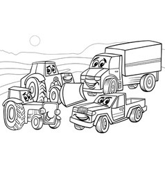 Vehicles machines cartoon coloring page vector