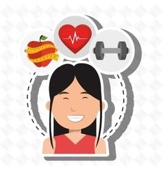 Woman sport health icon vector