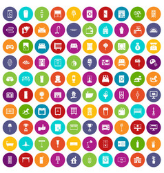 100 interior icons set color vector