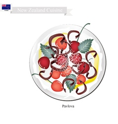 Pavlova meringue cake with cherries new zealand vector