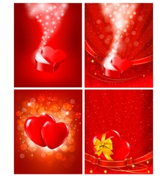 Set of valentines day backgrounds vector