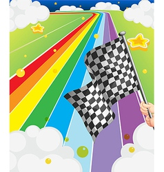 A colorful road with a flag vector