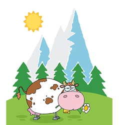 Mountain Dairy Cow With Flower In Mouth vector image