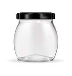 glass jar with black lug cap vector image