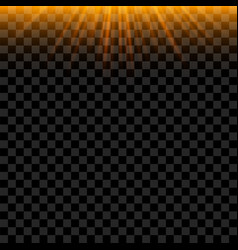 Orange sun beams with glowing effect vector