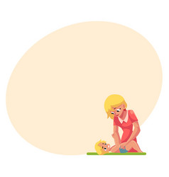 Young mother changing her babys diaper nappy vector
