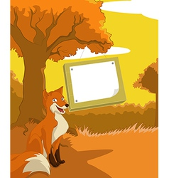 Wood plate with fox vector image