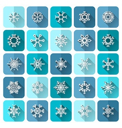 Set of square snowflake icons with long flat vector