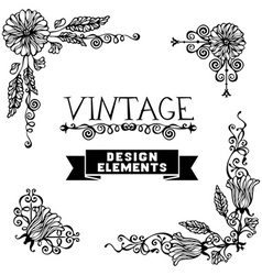 Set of black floral vintage corners isolated on vector