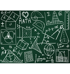 Mathematics icons and formulas on the school board vector