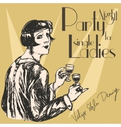 Retro woman with two liqueur glasses vector