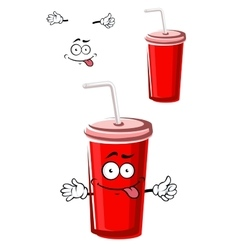 Takeaway red beverage cup character vector