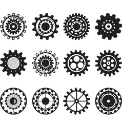 Collection of gear wheels isolated on white vector