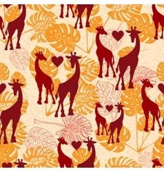Seamless vintage pattern with giraffe and vector