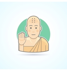 Buddhism monk tibetan novice icon vector