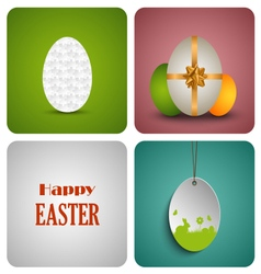 Easter decorative card with different eggs vector