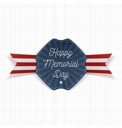 Happy memorial day festive emblem with text vector