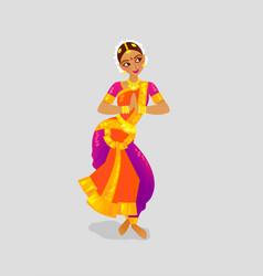 a woman dancing indian dance in vector image