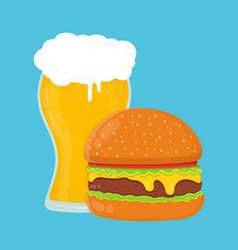 beer and burger flat cartoon vector image