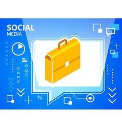 bright speech bubble and work suitcase on bl vector image