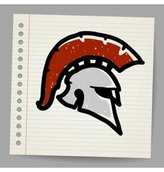 Bronze doodle of trojan helmet spartan helmet vector