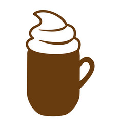 Brown mug of cappuccino with cream vector
