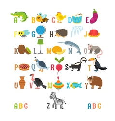 Children alphabet with cute cartoon animals and vector image